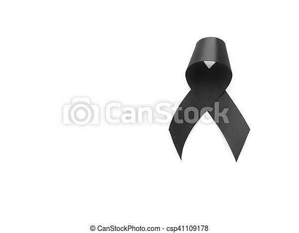 Black Ribbon Symbol For Mourning On White Background