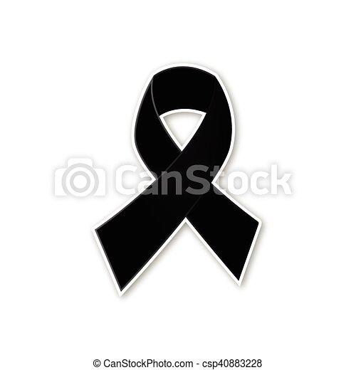 Black ribbon vector on white backgr - csp40883228