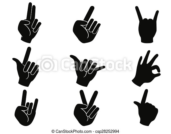 Isolated Black Rock And Roll Music Hand Sign Icons From Whjite