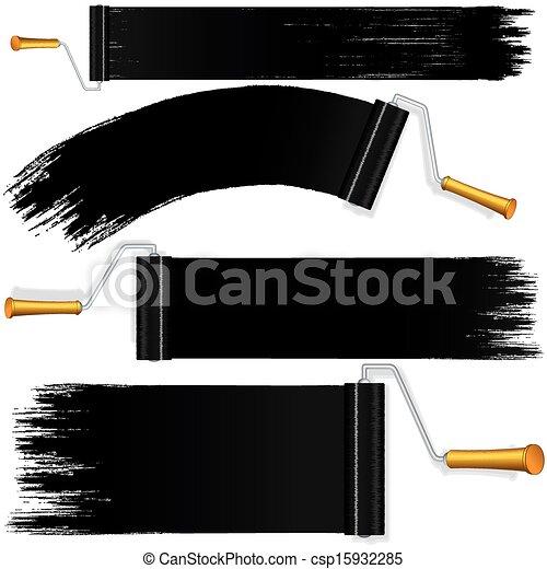 Black roller brush on white background. vector. Black ...