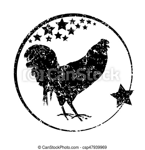 Black Rooster Stamp Silhouette Grungy With Stars