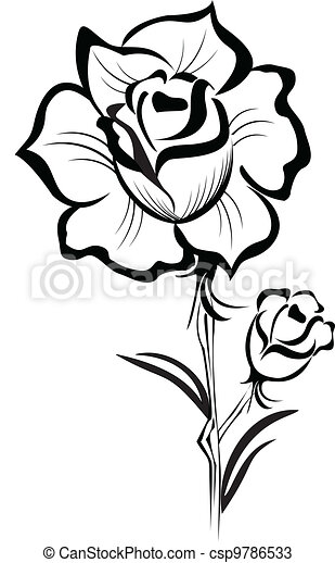 Black Rose stylized stroke logo - csp9786533