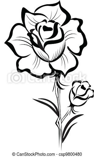 Black Rose stylized stroke vector - csp9800480