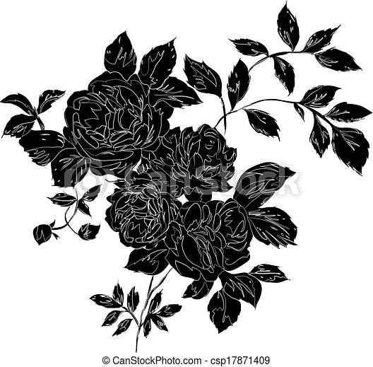 5035da740 Black rose. Decorative black rose bouquet with outlines, isolated ...