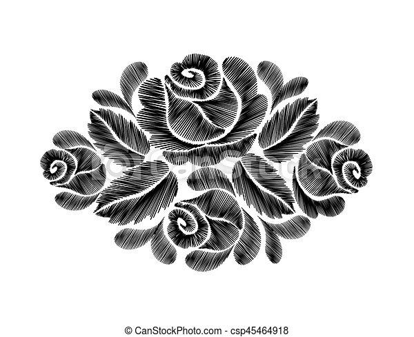 Line Art Flower Design : Black roses embroidery on white background ethnic flowers