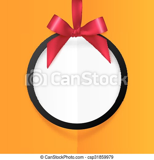 Black round hanging frame with red silky bow and ribbon on orange background - csp31859979