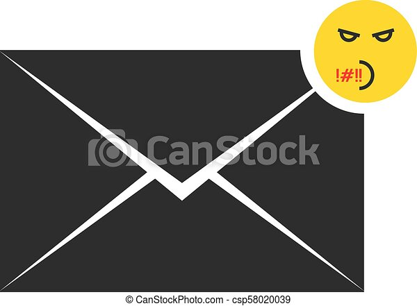 black rude message letter icon with emoji