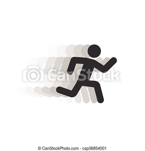Black Running Man Illustration With Motion Blur Track Black