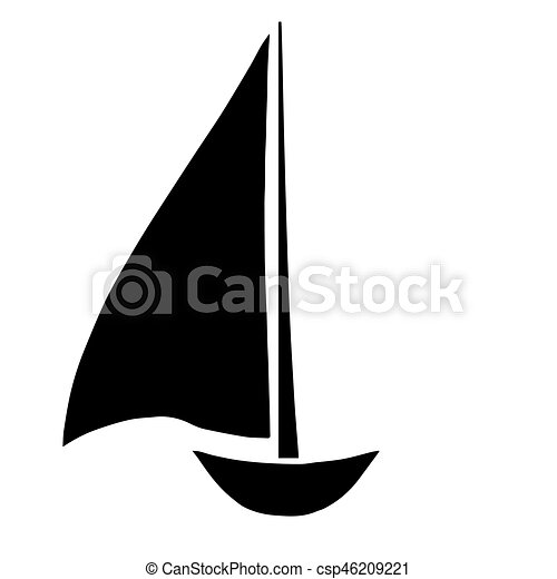 black sailboat silhouette vector on white background vector