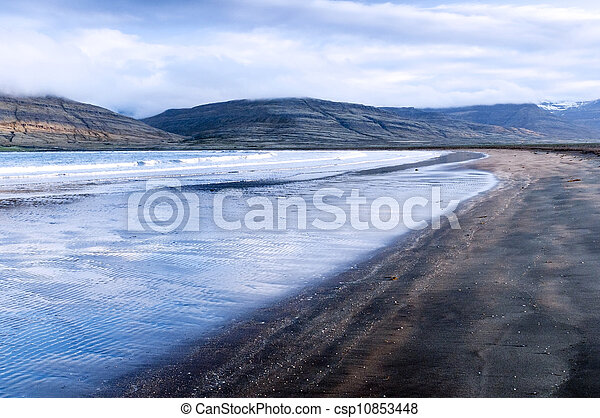 Black sand beach and blue sea, Iceland - csp10853448