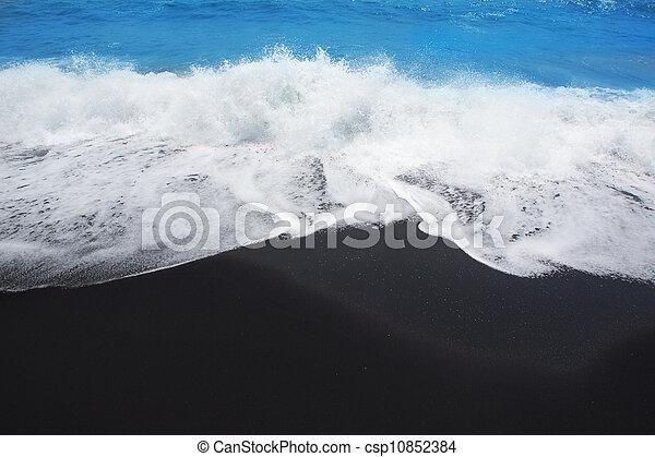 Black sand beach in Tenerife at Canary Islands - csp10852384