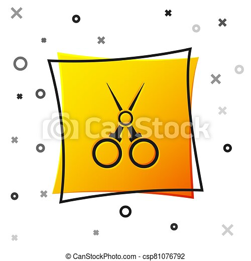 Black Scissors hairdresser icon isolated on white background. Hairdresser, fashion salon and barber sign. Barbershop symbol. Yellow square button. Vector Illustration - csp81076792