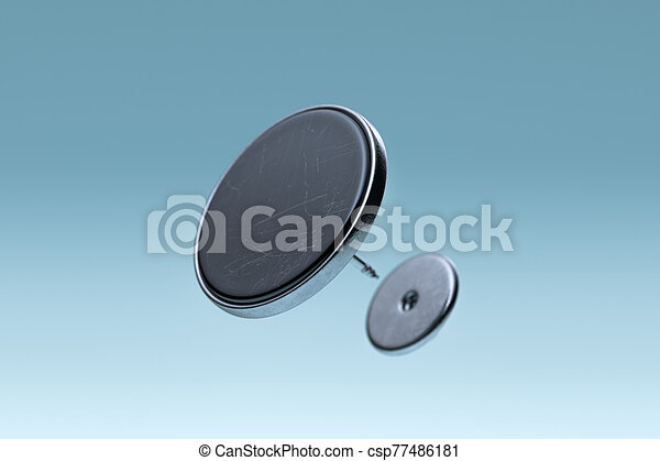 Black Scratched Blank Pin Button With Empty Space Isolated On Blue Gradient Background, 3d rendering. - csp77486181
