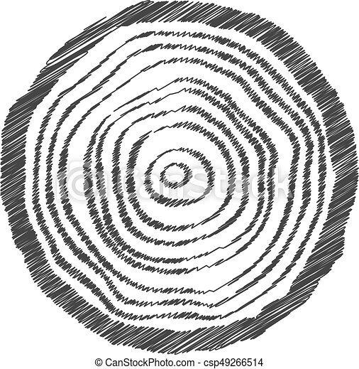 Black Scribble Tree Ring Concept Of Eco Topography Pine Symbol