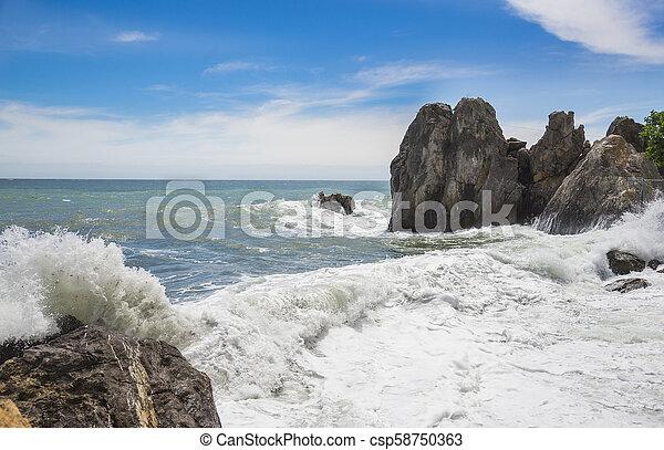 Black Sea and blue sky. Gurzuf, Crimea - csp58750363
