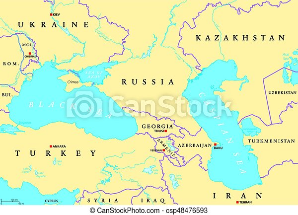 Black sea and caspian sea political map. Black sea and caspian sea on