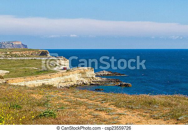 Black Sea coast near the city of Sevastopol - csp23559726