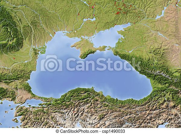 Black Sea, shaded relief map - csp1490033