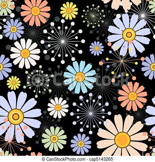 Black seamless floral pattern - csp5143265