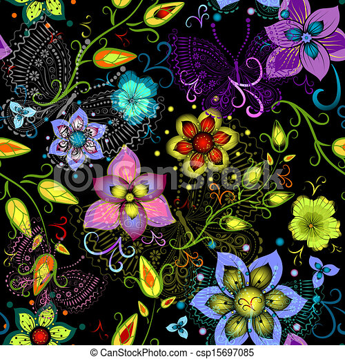 Black seamless floral pattern with transparent butterflies - csp15697085