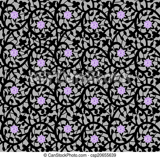 Black seamless floral pattern with lace and diamonds - csp20655639