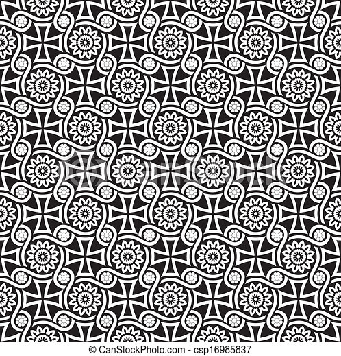 Black seamless floral wallpaper - csp16985837