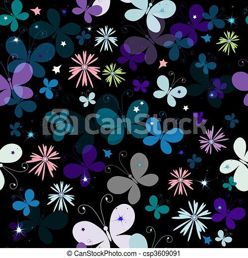 Black seamless pattern - csp3609091