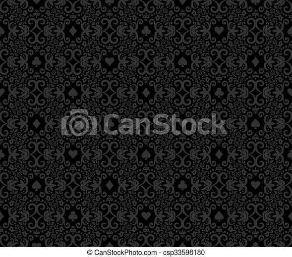 Black seamless poker background with white damask pattern and cards symbols - csp33598180