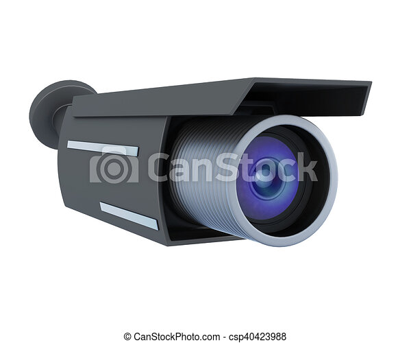 Black security camera isolated on white background. 3d rendering - csp40423988