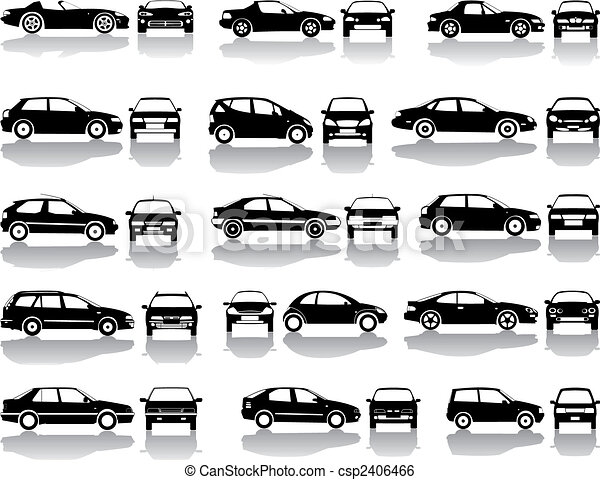 Black set of cars vector - csp2406466