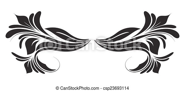 Line Drawing Vector Graphics : Black shape floral divider. abstract decorative swirl vector clip