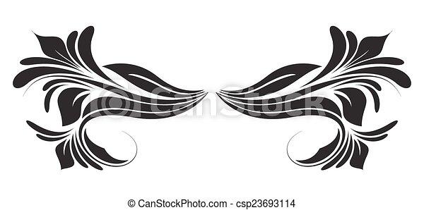 Black Shape Floral Divider