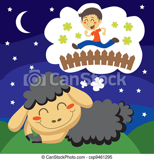 Black Sheep counting Children - csp9461295