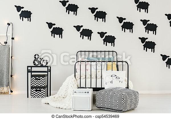 Black sheep stickers in bedroom - csp54539469