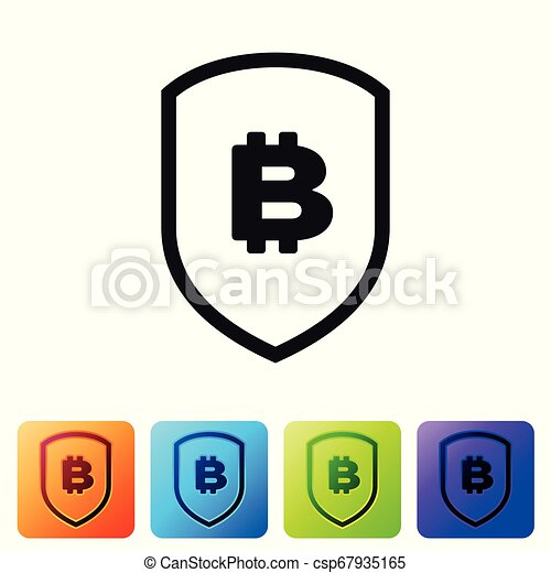 Black Shield with bitcoin icon on white background. Cryptocurrency mining, blockchain technology, bitcoin, security, protect, digital money. Set icon in color square buttons. Vector Illustration - csp67935165