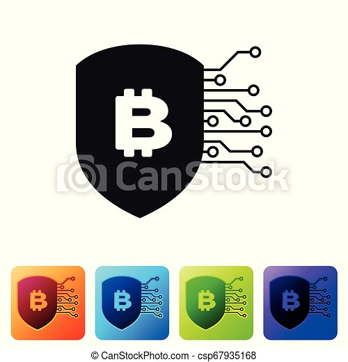 Black Shield with bitcoin icon on white background. Cryptocurrency mining, blockchain technology, bitcoin, security, protect, digital money. Set icon in color square buttons. Vector Illustration - csp67935168