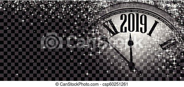 black shiny 2019 new year banner with clock csp60251261