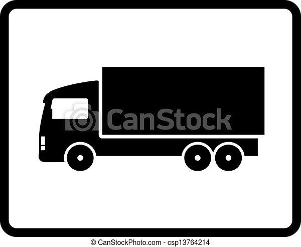 black shipping truck - csp13764214