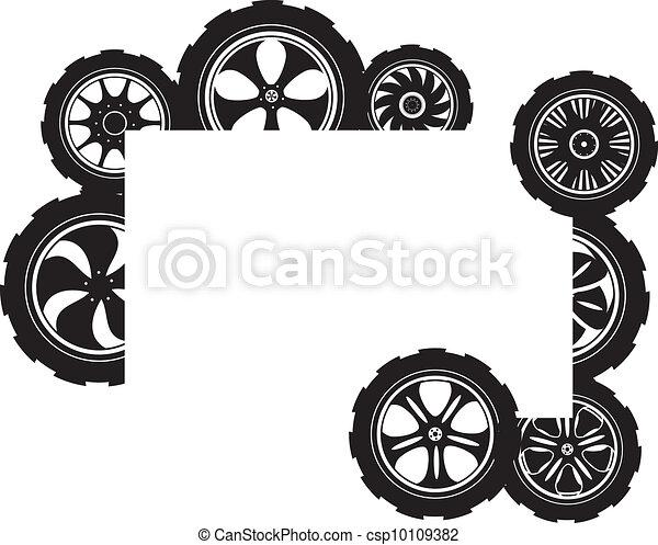 black  silhouette: automotive wheel  - csp10109382