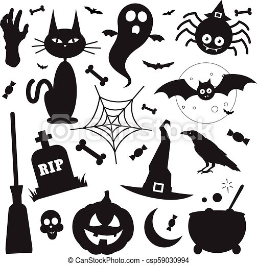 Halloween Vector Black And White.Black Silhouette Halloween Vector Elements Icons Set