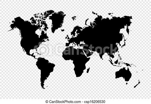 Black silhouette isolated World map EPS10 vector file. - csp16206530