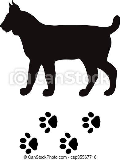 black silhouette lynx cat wild animal zoo vector wild lynx cat