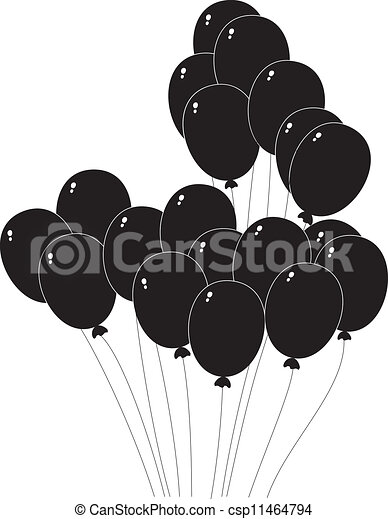 black silhouette of a balloons - csp11464794
