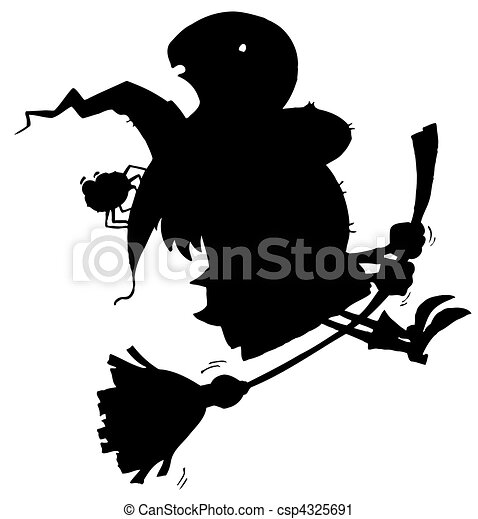 Black Silhouette Of A Flying Witch - csp4325691