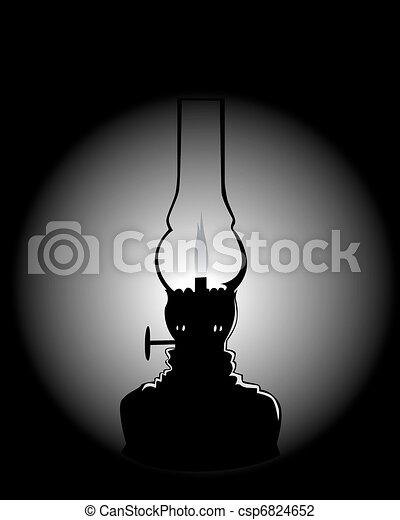 black silhouette of a kerosene lamp - csp6824652