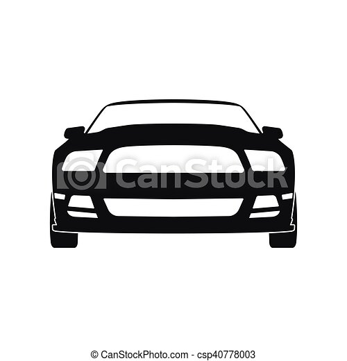 Black Silhouette Of A Sports Car On A White Background. Front View    Csp40778003
