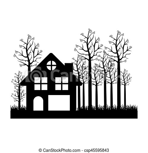 Black Silhouette Of Cottage In The Forest White Background Vector
