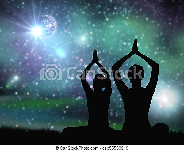 Yoga Mindfulness And Harmony Concept Black Silhouette Of Couple Meditating Over Space Background