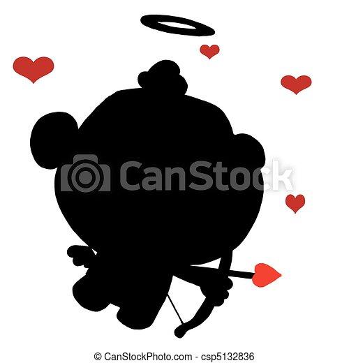 Black Silhouette Of Cupid  - csp5132836