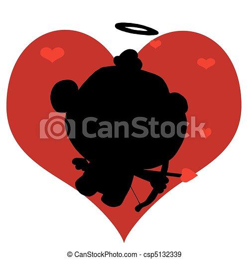 Black Silhouette Of Cupid - csp5132339